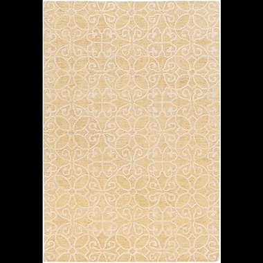 Charlton Home Russellville Hand-Hooked Yellow/Neutral Area Rug; Rectangle 8' x 10'
