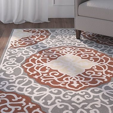 Charlton Home Windsor Hand-Tufted Camel/Gray Area Rug; Rectangle 3'6'' x 5'6''