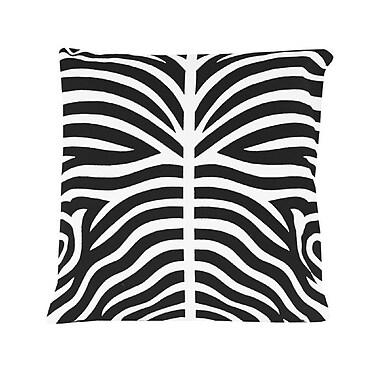 Brayden Studio Pena Zebra Striped 100pct Cotton Throw Pillow (Set of 2); Black