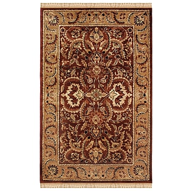 Charlton Home Blythewood Hand-Tufted Burgundy/Beige Area Rug; 4' x 6'