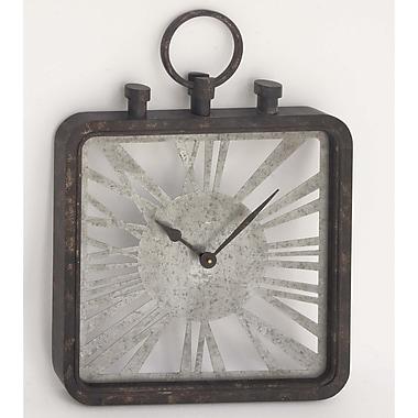 Ebern Designs Thakur Industrial Square Metal Wall Clock