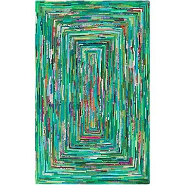Ebern Designs Thao Hand-Woven Green/Blue Area Rug; 2' x 3'