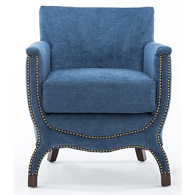 Darby Home Co Corine Chenille Modern Accent Armchair; Azure Blue