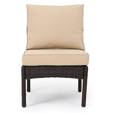 Darby Home Co Dia Outdoor Wicker Armless Sectional Sofa Seat w/ Cushions (Set of 2); Brown