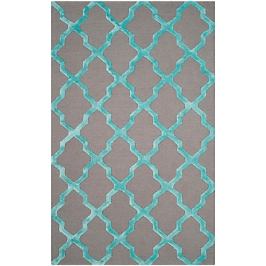 Darby Home Co Parker Lane Hand-Tufted Gray/Turquoise Area Rug; Rectangle 3' x 5'