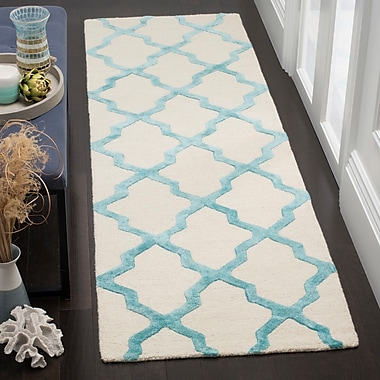 Darby Home Co Parker Lane Hand-Tufted Ivory/Turquoise Area Rug; Rectangle 3' x 5'