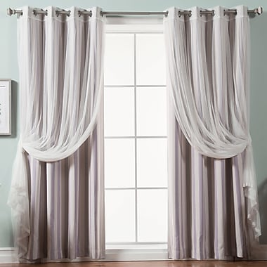 Darby Home Co Baynton Striped Semi-Sheer Thermal Grommet Curtain Panels (Set of 2); Lilac