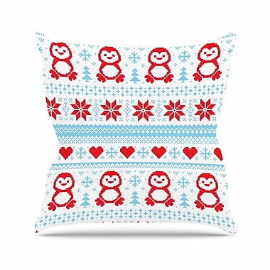 East Urban Home Pixel Penguin Holiday Christmas Pattern Throw Pillow; 20'' H x 20'' W x 4'' D