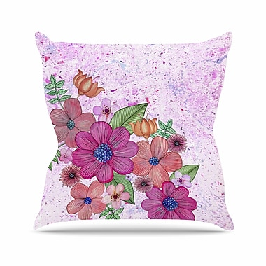 East Urban Home My Garden Floral Julia Grifol Magenta Throw Pillow; 26'' H x 26'' W x 4'' D