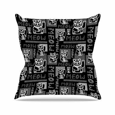 East Urban Home Meow Repeat Jane Smith Throw Pillow; 16'' H x 16'' W x 4'' D