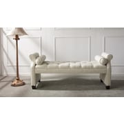 Everly Quinn Belby Roll Arm Upholstered Bench; Sky Neutral