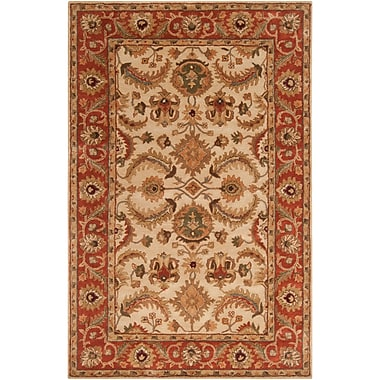 Fleur De Lis Living Arcadia Hand-Tufted Red/Brown Area Rug; Rectangle 3'3'' x 5'3''