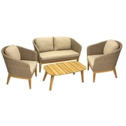 Gracie Oaks Patterson 4 Piece Teak & Wicker Conversation Set