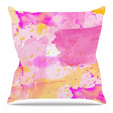 East Urban Home Aqua Pink and Yellow by Shirlei Patricia Muniz Throw Pillow; 26'' H x 26'' W x 4'' D