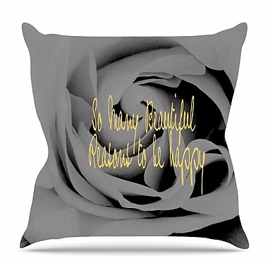 East Urban Home Happy by Suzanne Carter Throw Pillow; 26'' H x 26'' W x 4'' D