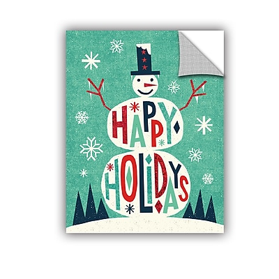 The Holiday Aisle Festive Holiday Snowman Wall Mural; 18'' H x 14'' W x 0.1'' D