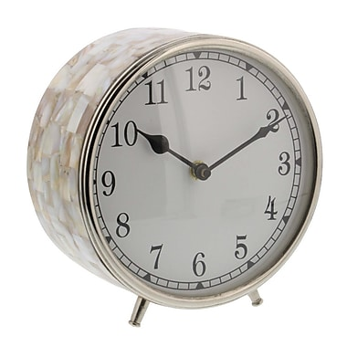 Highland Dunes Stainless Steel Inlay 6'' Table Clock