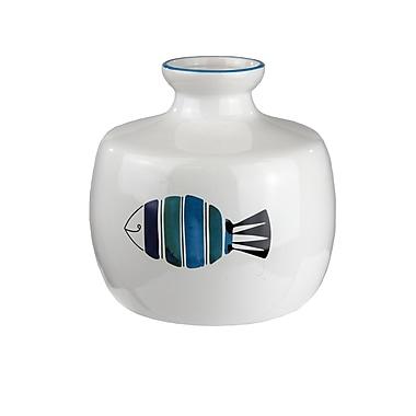 Highland Dunes White Ceramic Table Vase; 5'' H x 5.75'' W x 5.75'' D