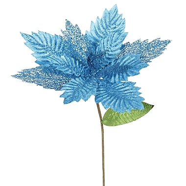The Holiday Aisle Poinsettia Decorative Christmas Floral (Set of 6); Turquoise