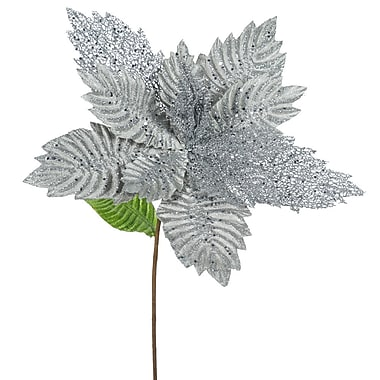 The Holiday Aisle Poinsettia Decorative Christmas Floral (Set of 6); Pewter