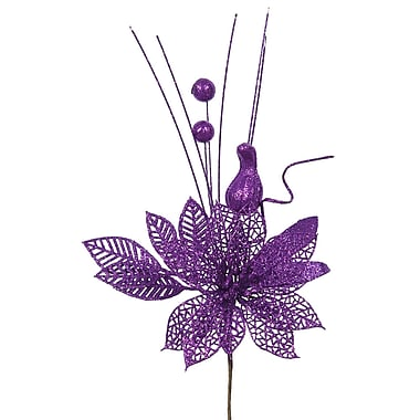 The Holiday Aisle Poinsettia and Ball Decorative Christmas Pick (Set of 12); Purple