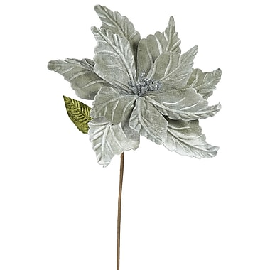 The Holiday Aisle Poinsettia Decorative Christmas Stem (Set of 6); Pewter