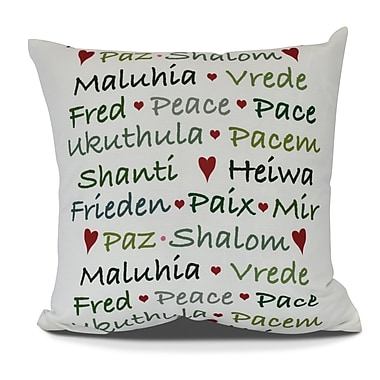 The Holiday Aisle Words of Peace Euro Pillow; Green