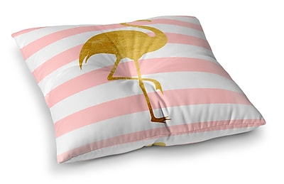 Ivy Bronx CirqueTropical Stripes Flamingo Outdoor Floor Pillow; 23'' H x 23'' W x 4'' D