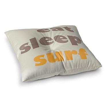 Ivy Bronx Craddock Eat, Sleep, Surf Outdoor Floor Pillow; 23'' H x 23'' W x 4'' D