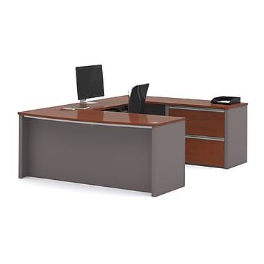 Latitude Run Wirra U-Shape Executive Desk; Bordeaux / Slate