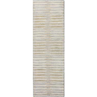 Latitude Run Bryden Hand-Tufted Silver Area Rug; Runner 2'6'' x 8'
