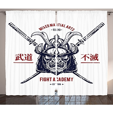 Latitude Run Rick Graphic Print & Text Semi-Sheer Rod Pocket Curtain Panels (Set of 2)