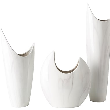 Latitude Run 3 Piece White Ceramic Table Vase Set
