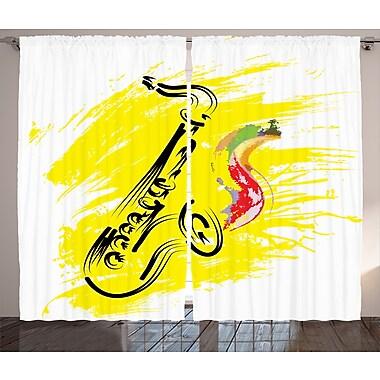 Latitude Run Boyd Graphic Print and Text Semi-Sheer Rod Pocket Curtain Panels (Set of 2)