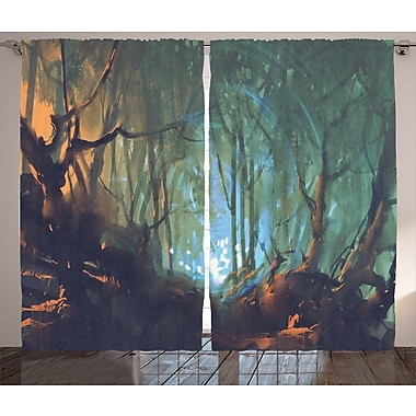 Loon Peak Gaines Graphic Print and Text Semi-Sheer Rod Pocket Curtain Panel (Set of 2)