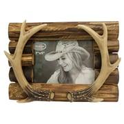 Loon Peak Beautiful Antler on Wood Picture Frame