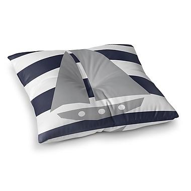 Longshore Tides Daniel Striped Sailboat Outdoor Floor Pillow; 6'' H x 26'' W x 26'' D
