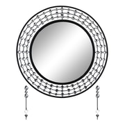 Latitude Run Elegant Bejeweled Round Overmantel Wall Mirror