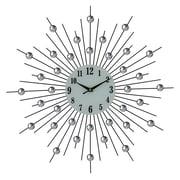 Latitude Run Portwood Elegant Bejeweled Silver Spikes Round 20'' Wall Clock