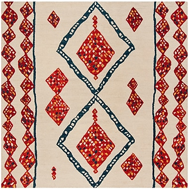Loon Peak Aldwich Hand-Tufted Beige/Red Area Rug; Square 7'