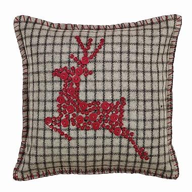Loon Peak Weston Button Reindeer Felt Throw Pillow