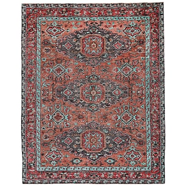 Loon Peak Marcus Hand-Tufted Rust/Aqua Area Rug; 5'6'' x 8'6''
