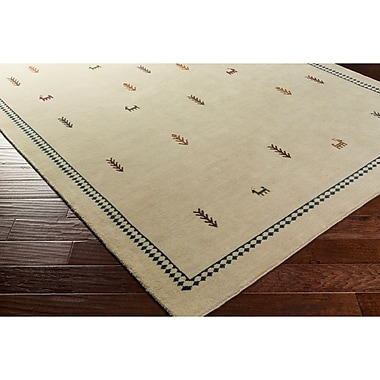 Loon Peak Taylor Cove Hand-Knotted Neutral/Black Area Rug; Rectangle 2' x 3'