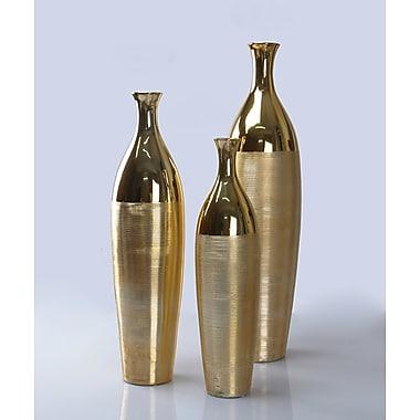 Mercer41 3 Piece Vase Set; Gold