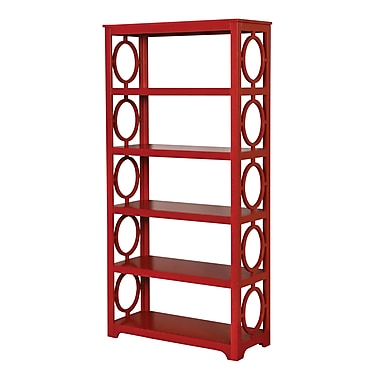 Mercer41 Willa 72'' Accent Shelves Bookcase; Red