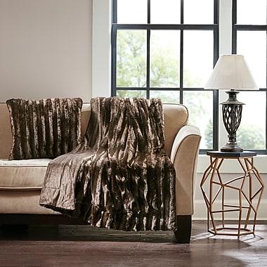 Mercer41 Bolland Faux Fur Throw Pillow; Chocolate