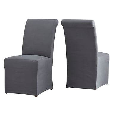 One Allium Way Lefebre Parson Chair (Set of 2); Gray