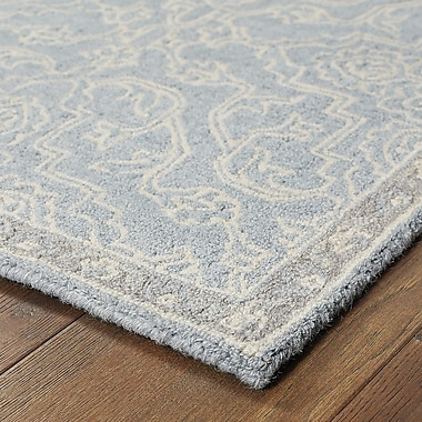 One Allium Way Sirois Hand-Tufted Medallion Gray/Blue Area Rug; 4'11'' x 8'