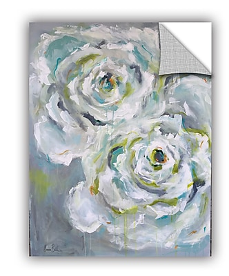 One Allium Way Corr ze Two White Roses Wall Mural; 48'' H x 36'' W x 0.1'' D