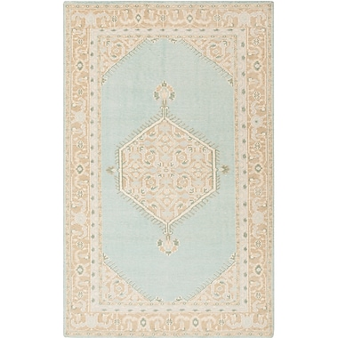 One Allium Way Palko Hand-Knotted Blue/Beige Area Rug; Rectangle 5'6'' x 8'6''